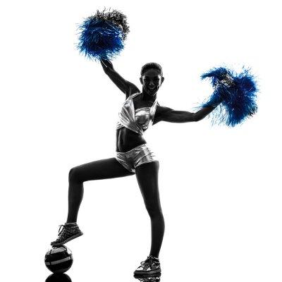 Sticker jeune cheerleader cheerleading femme silhouette