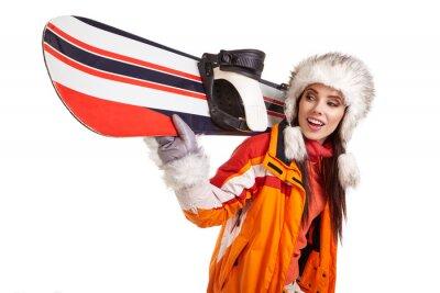 Sticker Jeune, femme, debout, snowboard, isolé, blanc