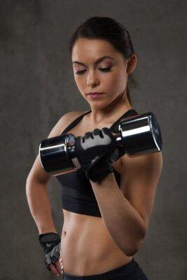 Sticker Jeune, femme, fléchir, muscles, haltères, gymnase