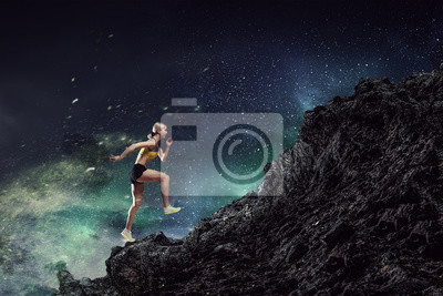 Jeune, femme, jogger Médias mélangés