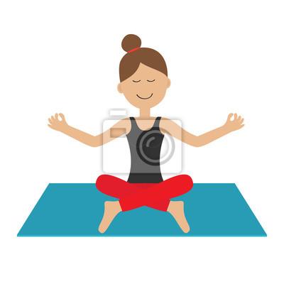 Jeune Fille Faire Du Yoga Mignon Dessin Anime Femme Caractere