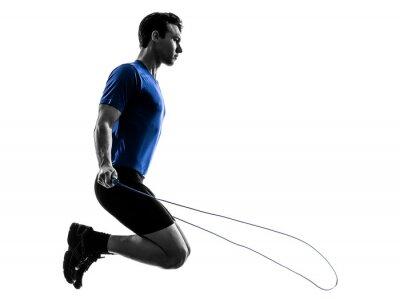 Sticker jeune homme exerçant silhouette de saut à la corde