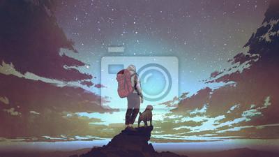 Sticker jeune randonneur avec sac à dos et un chien debout sur le rocher et en regardant les étoiles dans le ciel nocturne, style art numérique, illustration peinture