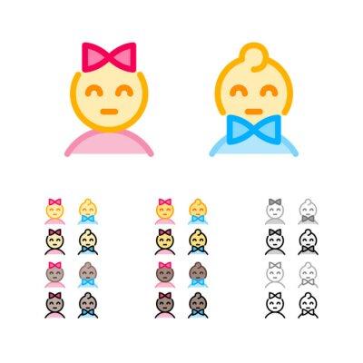 Jolie fille avec arc et garçon avec des icônes de contour moderne bowtie dans différentes couleurs. Signes de sexe masculin et féminin. Enfants drôles emoji. Icônes de sexe féminin et masculin.