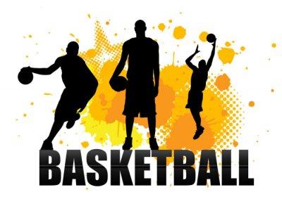 Sticker joueur de basket en acte avec grunge