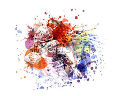 Sticker Joueur de football américain de couleur illustration vectorielle