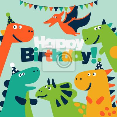 Joyeux Anniversaire Jolie Carte Vectorielle Avec Des Dinosaures Autocollants Murales Diplodocus Pterodactyle Carte D Anniversaire Myloview Fr