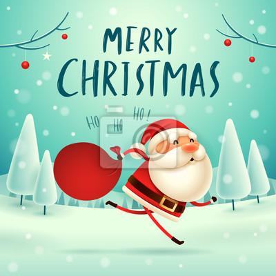 940f160dc7 Sticker Joyeux Noël! Père Noël portant sac avec plein de cadeaux dans la  scène de