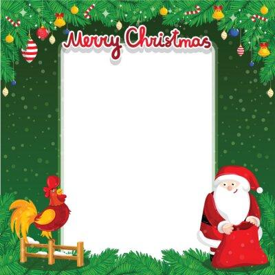 b2f9633089 Sticker Joyeux Noël carte de voeux avec le Père Noël et le coq sur l'