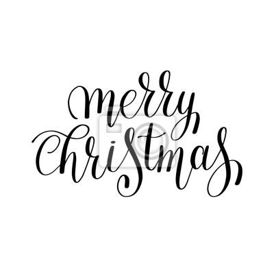 Sticker Joyeux Noël Noir Et Blanc Lettrage Manuscrit Inscriptio