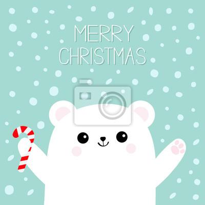 Joyeux Noel Ours Blanc Polaire Tenant Un Baton De Canne A Sucre