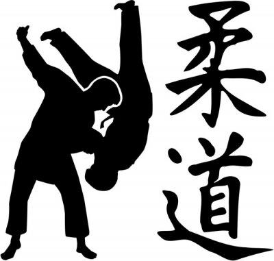 Judo combat avec les signes japonais de judo