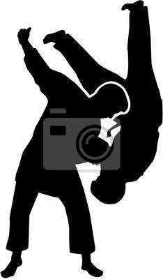 Judo, combattants, silhouette