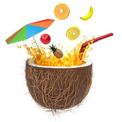 Sticker Jus multifruitiers dans la noix de coco avec une paille et de pulvérisation