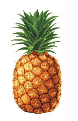 Sticker juteuses gouttes d'eau douce d'ananas sur fond blanc