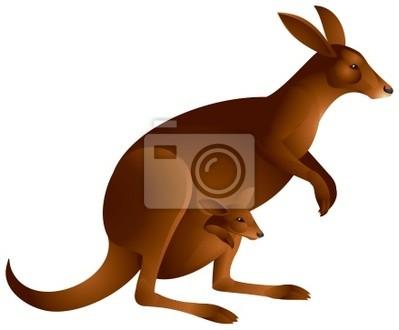 Kangaroo avec le bébé dans le vecteur stickers pc portable ... e75e5d67d1a