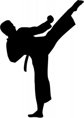 Karate, chasseur, silhouette