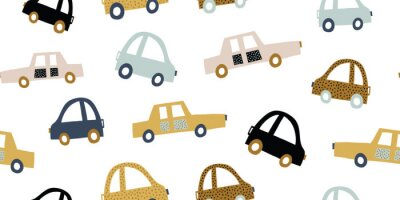Sticker Kids handdrawn seamless pattern with colorful cars