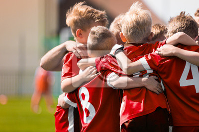 Sticker Kids Play Sports Game. Children Sporty Team United Ready to Play Game. Children Team Sport. Youth Sports For Children. Boys in Sports Jersey Red Shirts. Young Boys in Soccer Sportswear