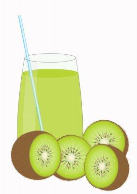 Sticker Kiiwi jus de fruits et de kiwi moitiés