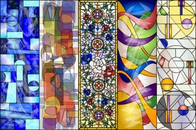 Sticker Kit de vecteur Vintage et Modernes de vitraux de vitraux