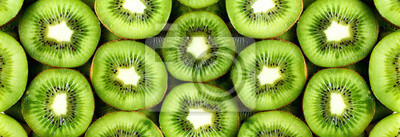 Sticker Kiwi biologique frais tranché. Cadre de nourriture avec un espace de copie pour votre texte. Bannière. Fond de cercles de kiwi vert