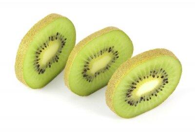 Sticker Kiwi fruits en tranches segments isolé sur fond blanc