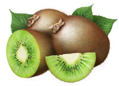 Sticker kiwi juteux avec des feuilles sur fond blanc, les fruits