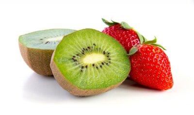 Sticker kiwi mûr et juteux et fraise close-up