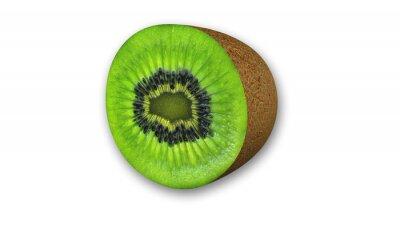 Sticker Kiwi tranché, les fruits coupés en deux isolé sur fond blanc