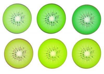 Sticker Kiwi tranches de fruits dans plusieurs nuances de couleur vert