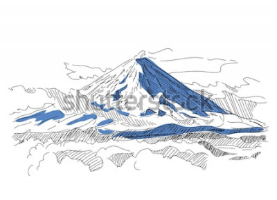 Sticker Klyuchevskaya Sopka. Volcan. Kamchatka. Russie