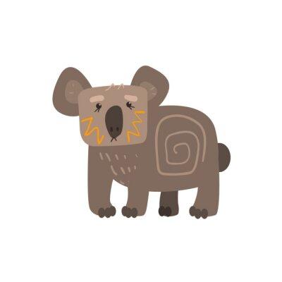 Sticker Koala, debout, plat, bande dessinée, stylisé