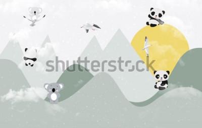 Sticker Koalas et pandas mignons jouant dans la montagne