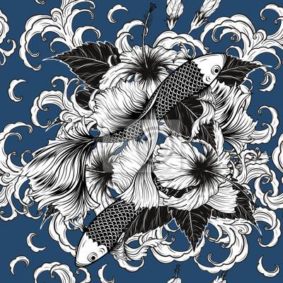 Sticker Koi Poisson Et Motif De Fleurs Hibiscus à Dessin à La Main Lart