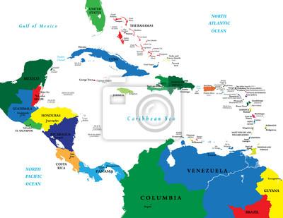 L'Amérique centrale et la carte des Caraïbes