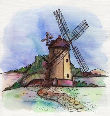 Sticker L'aquarelle tiré par la main moulin à vent en Hollande