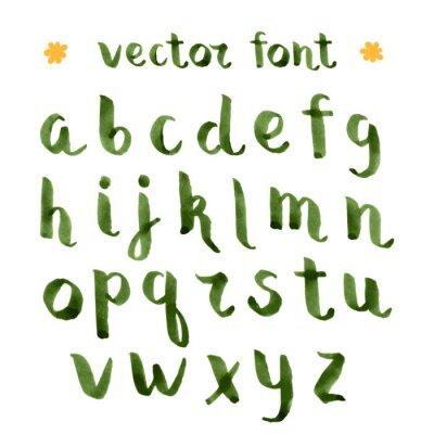 Sticker L'encre à la main de l'alphabet vert.
