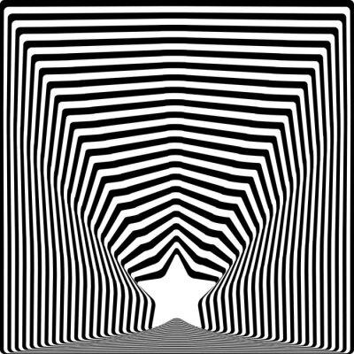 Sticker L'étoile noire rayonne l'effet d'art visuel d'illusion optique.