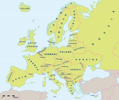 Sticker L'Europe carte politique en 2015 avec des étiquettes et échelle de la carte. Nouvelles frontières de l'Ukraine et la Russie sur la péninsule de Crimée. Toutes les données sont dans des couches pour fa