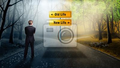 Sticker l'homme doit décider de prendre le chemin de l'ancienne ou la nouvelle vie
