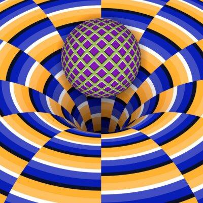 Sticker L'illusion optique de la balle tombe dans un trou. Résumé fond.