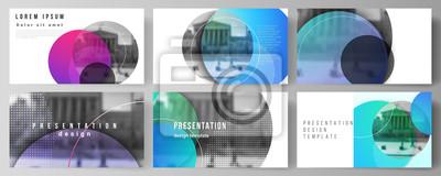 Sticker L'illustration vectorielle abstraite minimaliste de la mise en page modifiable des modèles d'affaires de conception de diapositives de présentation. Creative fond clair moderne avec des cercles coloré