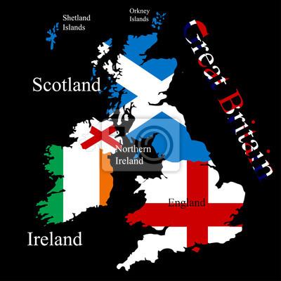 La carte de la Grande-Bretagne pour chaque drapeau de pays