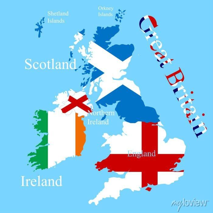 Sticker La carte de la Grande-Bretagne pour chaque drapeau de pays