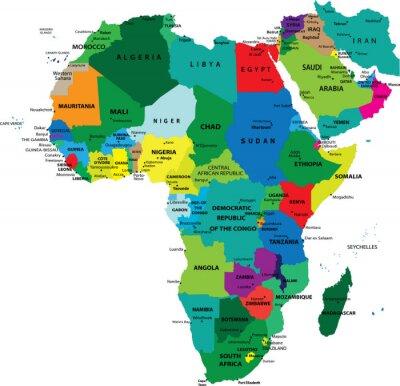 La carte politique de l'Afrique