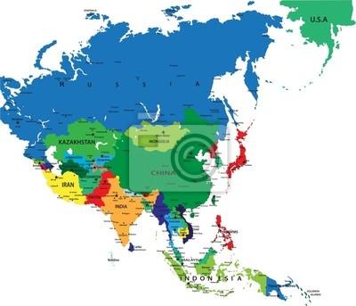 La carte politique de l'Asie