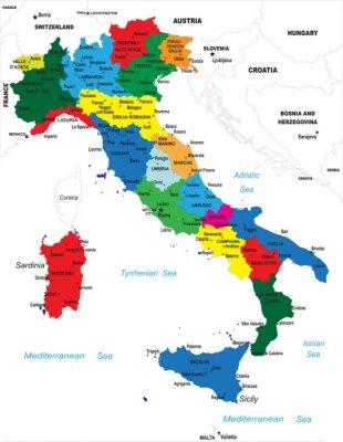 La carte politique de l'Italie