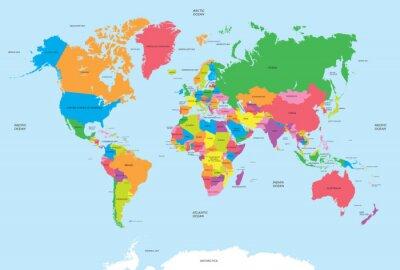Sticker La carte politique du vecteur du monde