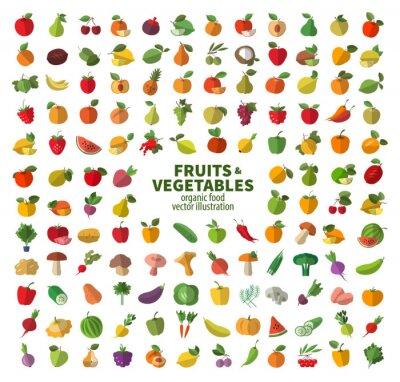 La collection d'icônes sur les fruits et légumes. Les aliments frais